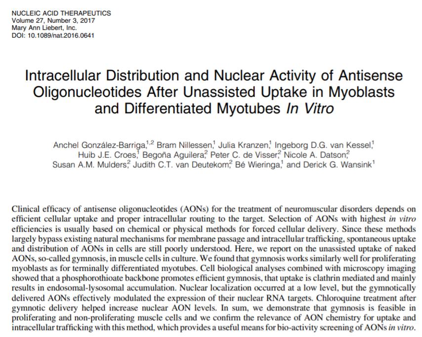 González-Barriga et al., Nucleic Acis Therapeutics 2017